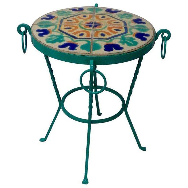 Wrought Iron California Tile Top Table