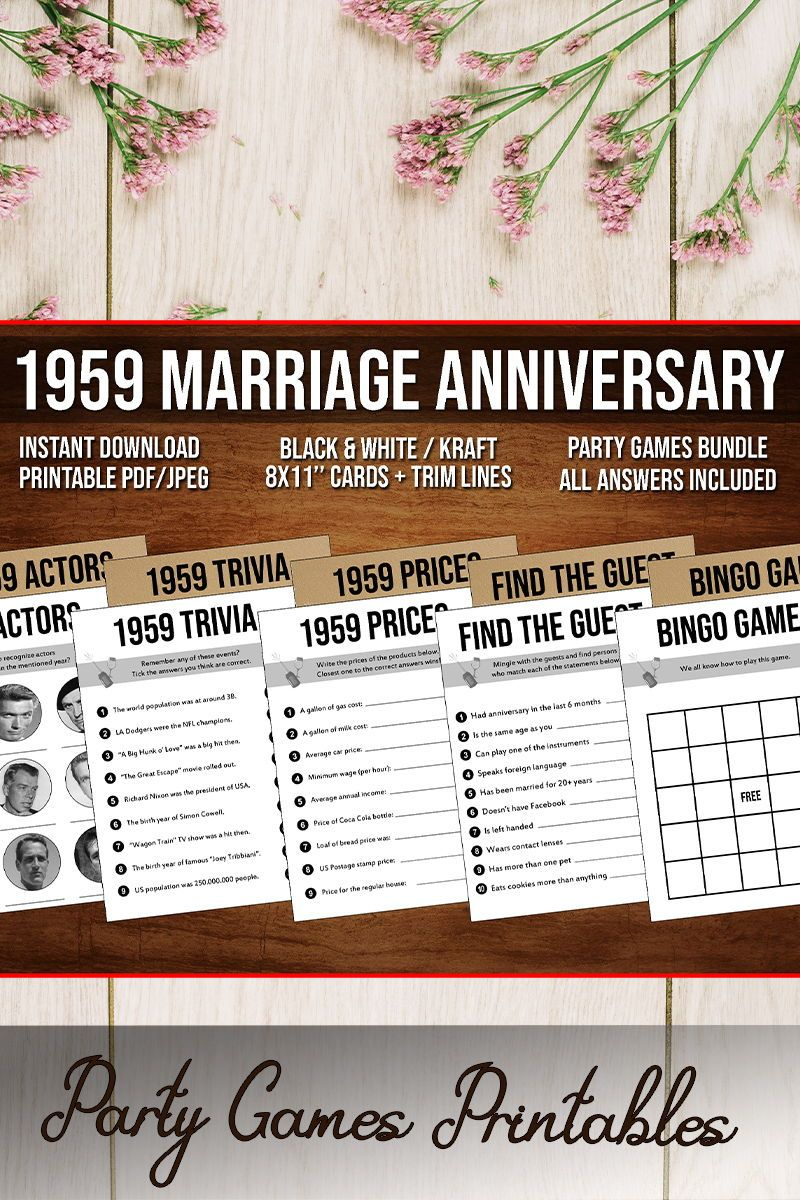 60th Anniversary Party Games Bundle Married In 1959 60th Etsy In 2020 Anniversary Party Games 40th Anniversary Party 60th Anniversary Parties