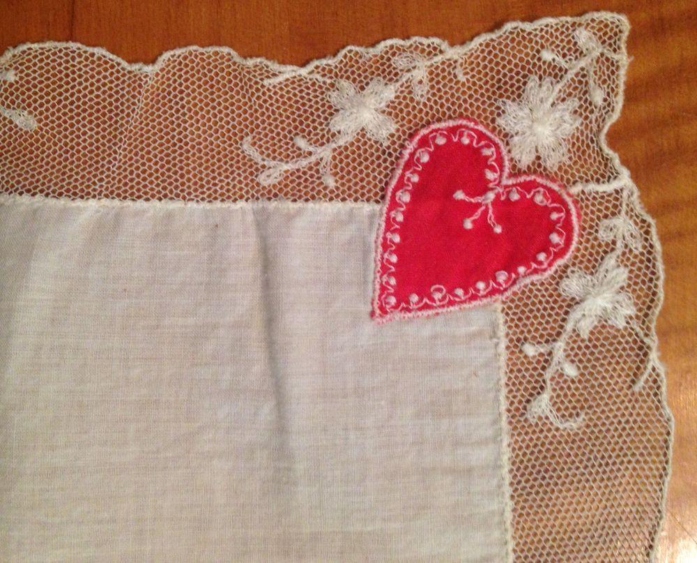 Vintage Beautiful Lace Handkerchief Hankie w Fancy Hearts | eBay