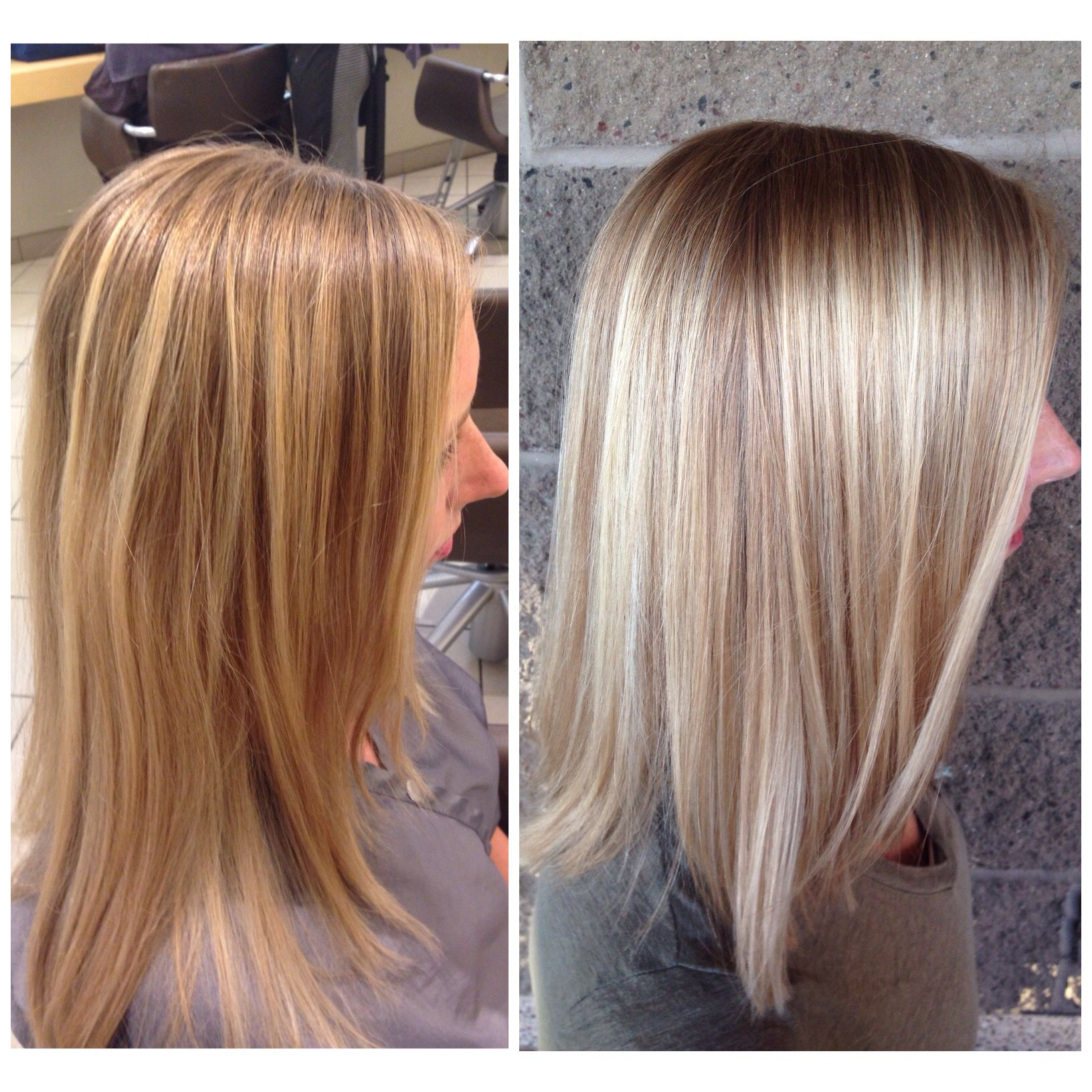 Before and after Free Hand Painted Highlights | Hair ...