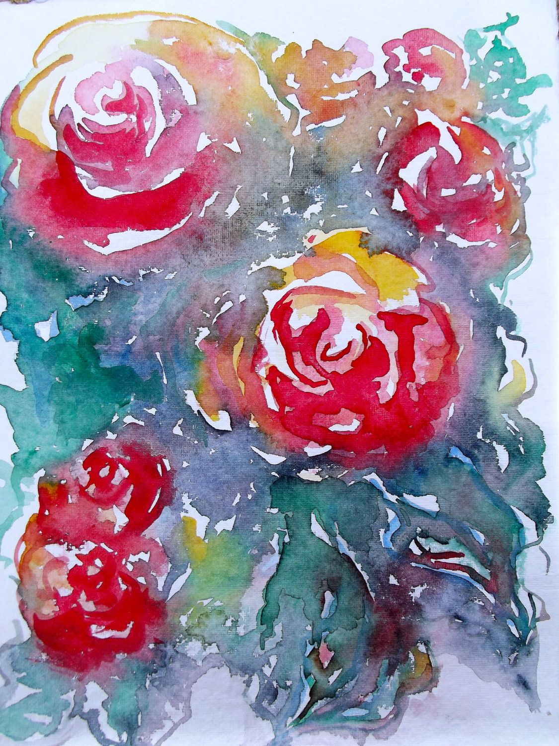 Abstract Floral Watercolor Painting on 100% handmade watercolor paper by Lana
