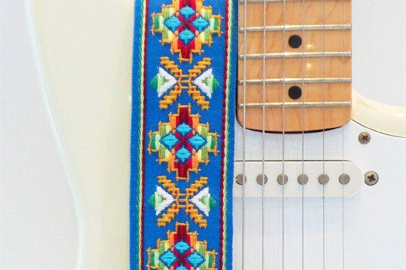 Hemp Guitar Strap  Blue Southwestern Style Woven by FeedbackStraps
