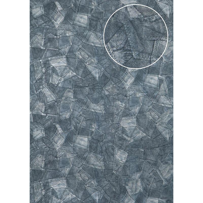 Papier Peint Gaufre Atlas Sti 5102 6 Papier Peint Intisse Gaufre D Aspect De Cuir Satine Bleu Bleu Pigeon Gris Bleu 7 035 M2 Stitches Sti 5102 6 Home Decor Decor Rugs
