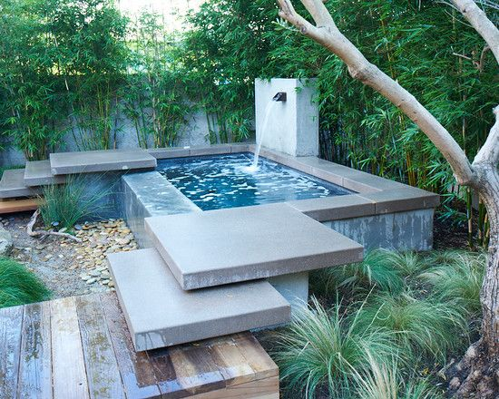 Contemporary Home Design Brilliant Above Ground Plunge Pool Using Water Flow Combined With Stone Floor And Stairs Surrounded By Green Plants
