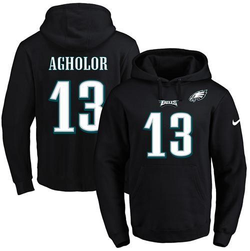 d520764694d NFL Men's Nike Eagles #13 Nelson Agholor Black Name & Number Pullover NFL  Hoodie