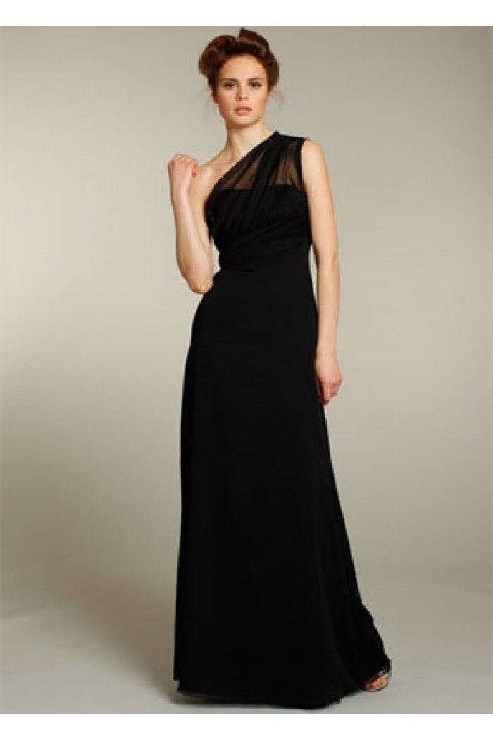 Sheath One Shoulder Illusion Neckline Long Black Chiffon Wedding Guest Bridesmaid Dress