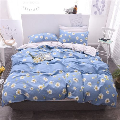 d7f948046ab6 Home textile bedding set blue daisy flower 100%cotton king queen twin size  duvet cover bed sheet love animal bedding bed linen
