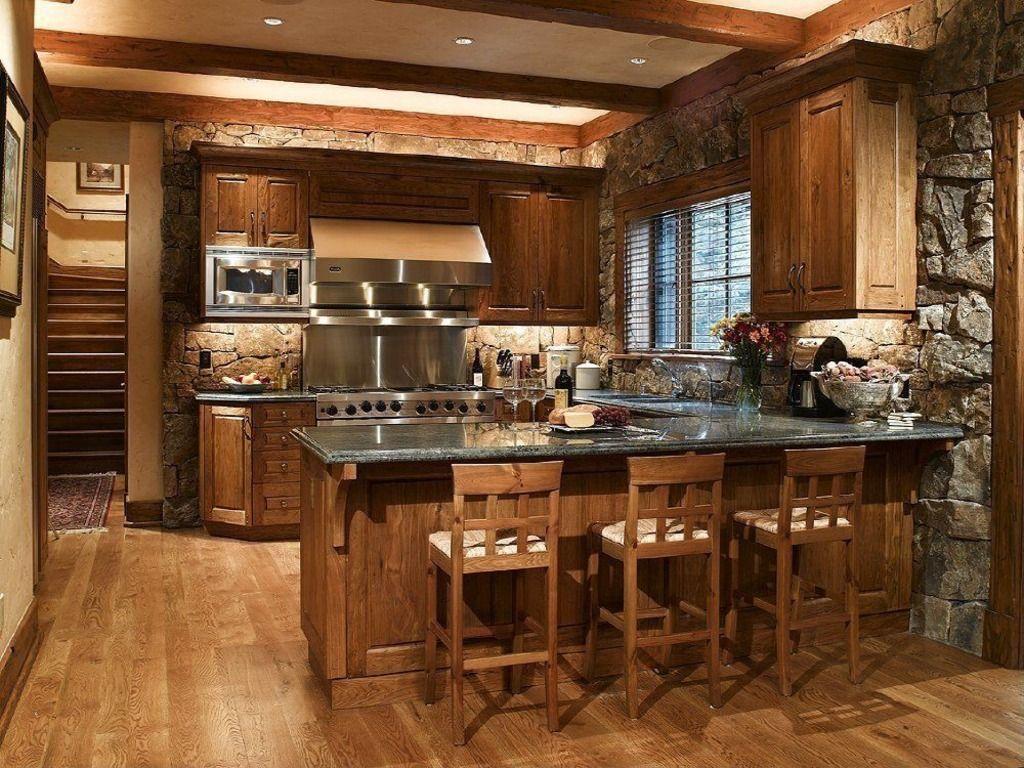 hardwood, breakfast bar, exposed beams, peninsula, rustic, quartz