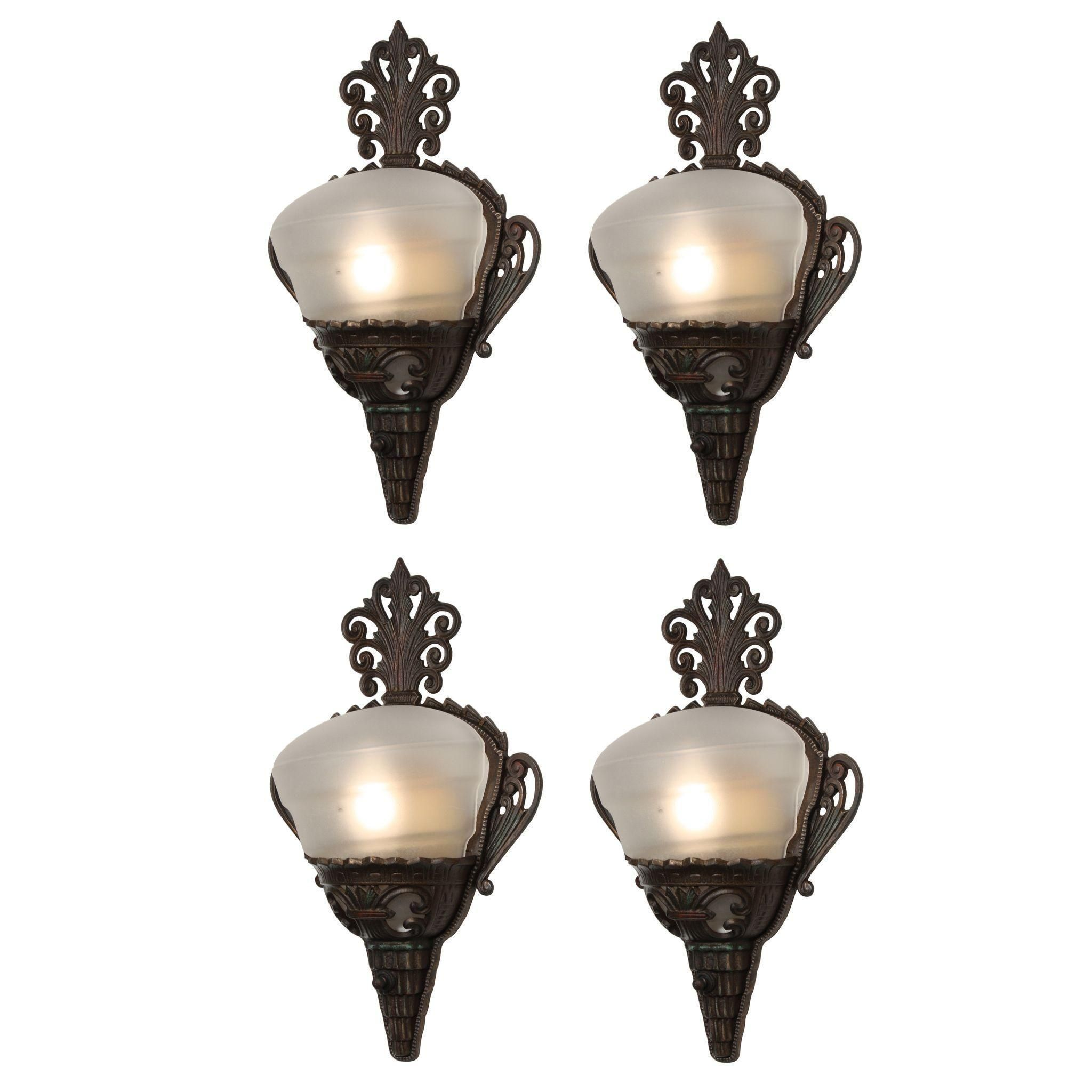 Antique art deco slip shade sconce pairs antique art art deco and antique art deco slip shade sconce pairs arubaitofo Gallery