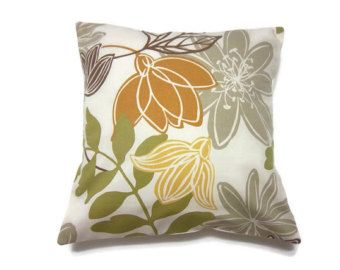 Yellow Gray Brown Green Pillows Two Gold Olive Green Brown Gray Pillow Covers Modern Floral Decorativ Grey