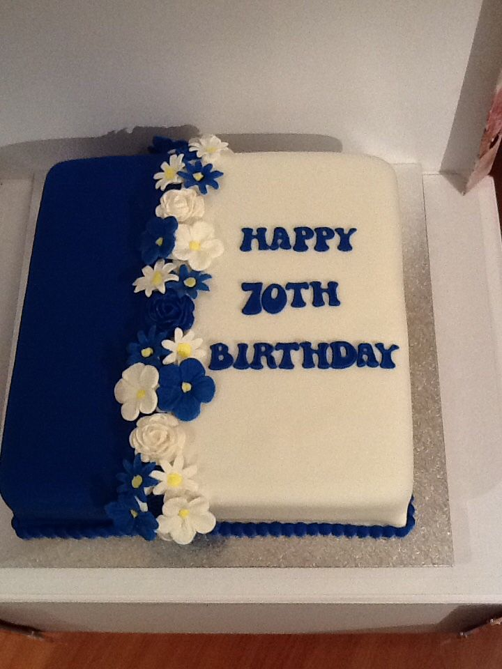 Excellent 70Th Birthday Cake For Flora Royal Blue And White With Roses And Birthday Cards Printable Trancafe Filternl