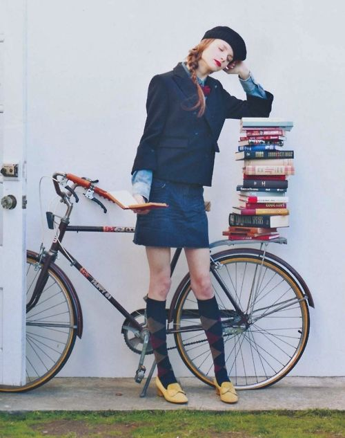I Probably Wouldnt Ride Bike In That Skirt Or With All Those Books