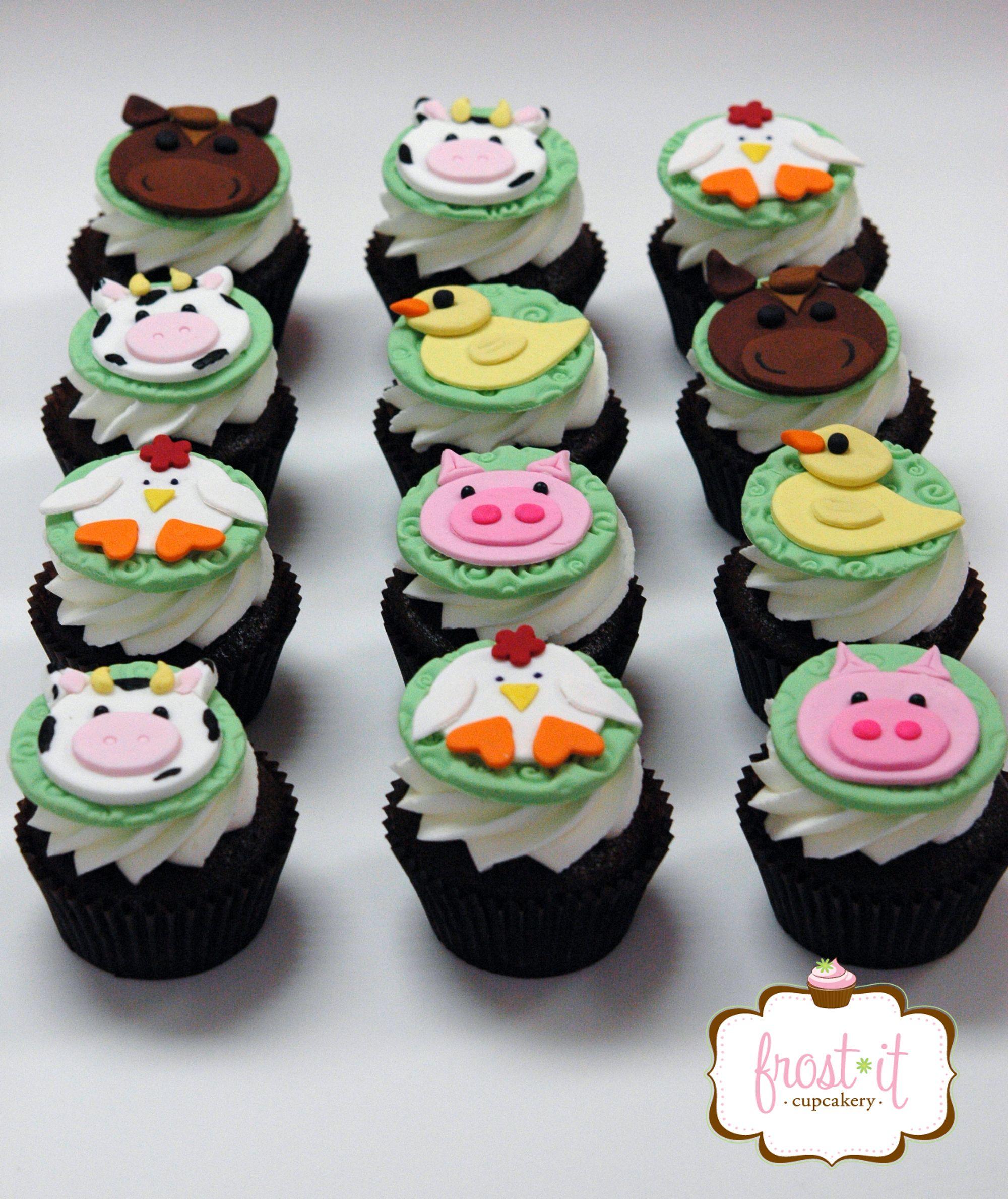 Fondant Farm Animal Cupcake Toppers Farm Birthday Party