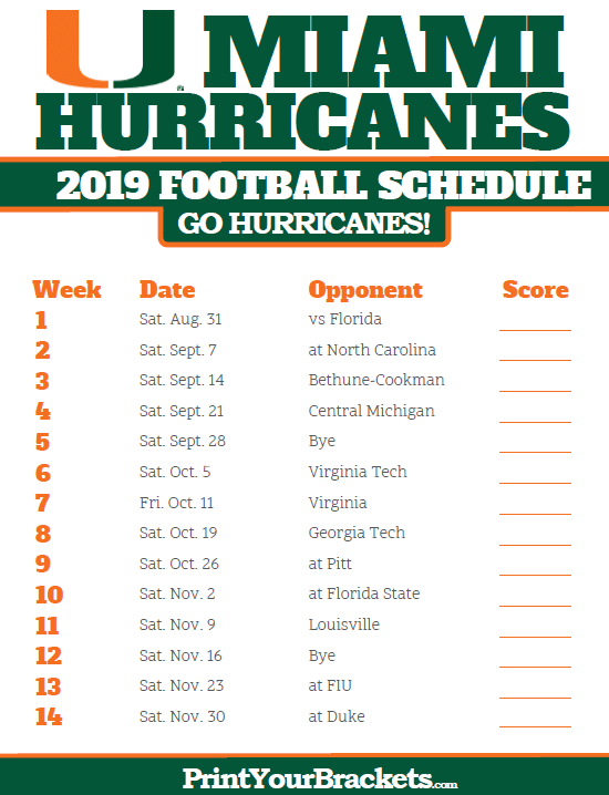picture relating to Printable College Football Schedules referred to as Printable 2019 Miami Hurricanes Soccer Routine