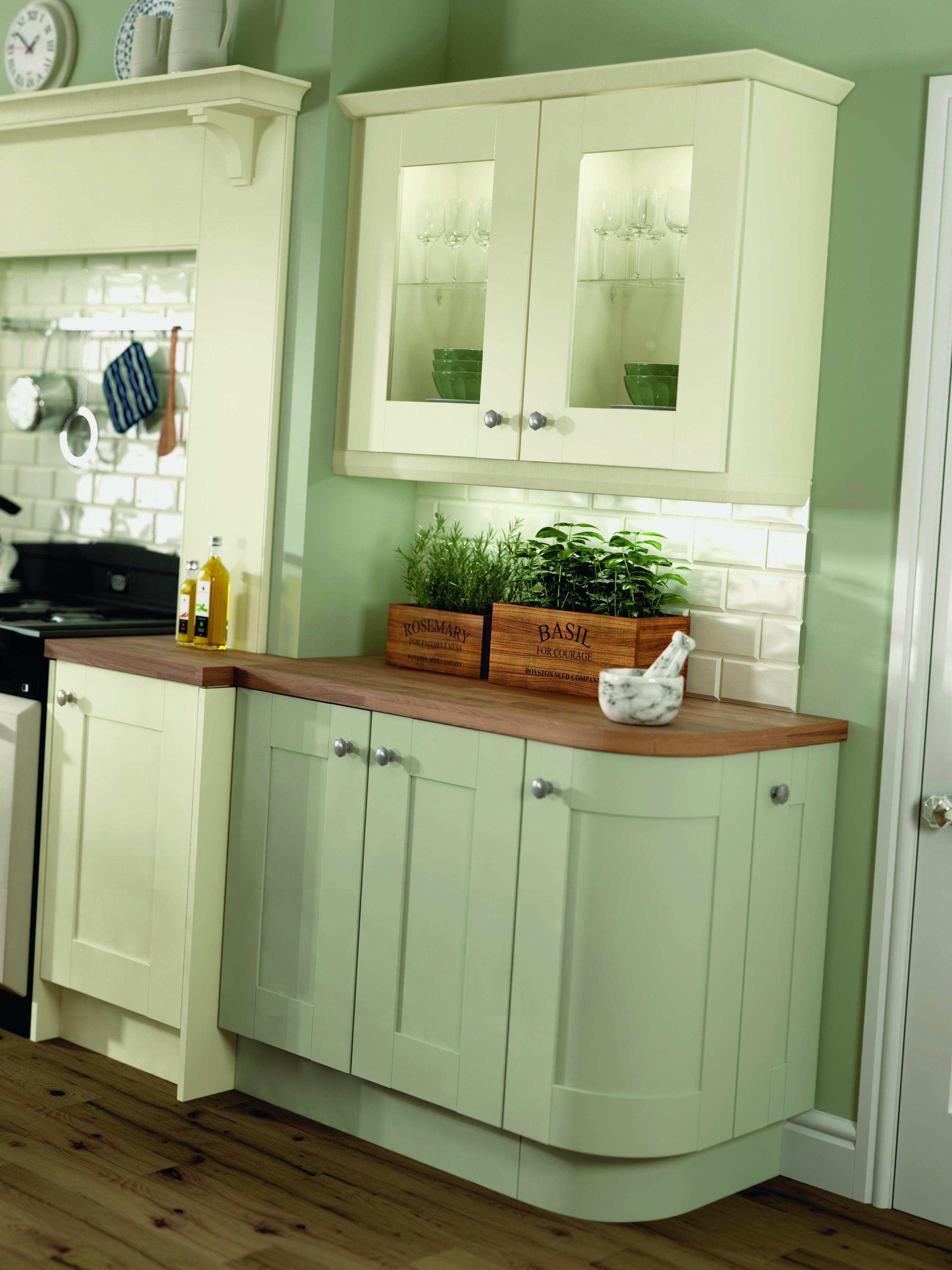 Rockfort Ivory and Cranbrook Sage Green kitchen walls