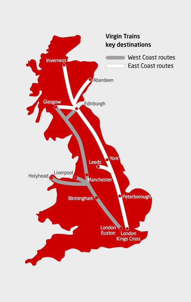 map of east coast train line Virgin Trains West East Coast Route Map Train Route Map Route map of east coast train line