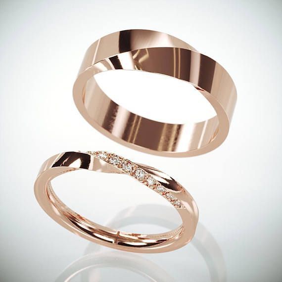 His and her Mobius wedding ring set  Rose Gold Mobius Wedding Ring Set with Diamonds  Turn wedding ringset with diamonds  interesse