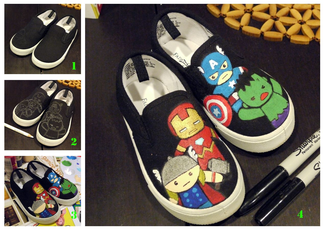 DIY painted canvas shoes (Avengers shoes for my little one