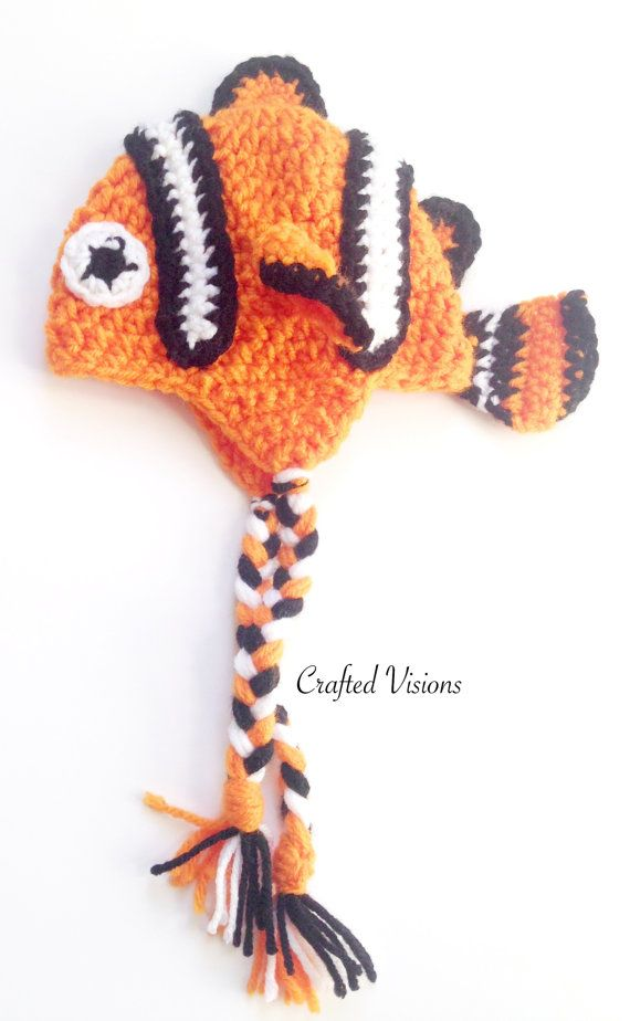 PATTERN Crochet Clown Fish Hat Pattern All Sizes by CraftedVisions ...