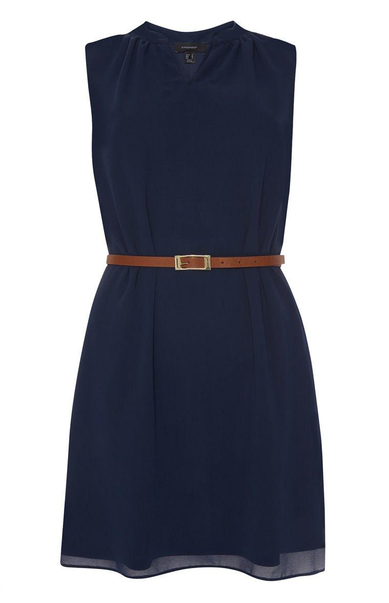 Primark - Marineblaues Chiffon-Kleid mit Gürtel | Elyts Ym ...