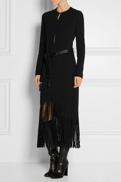 Tom Ford | Fringed stretch-cady midi dress | NET-A-PORTER.COM