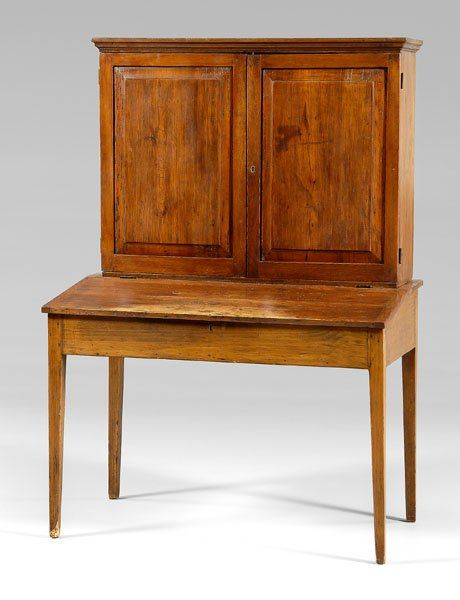 Southern Plantation Desk and Bookcase, with Paneled Doors. Yellow Pine with  Poplar and Maple. Circa 19th Century. 65