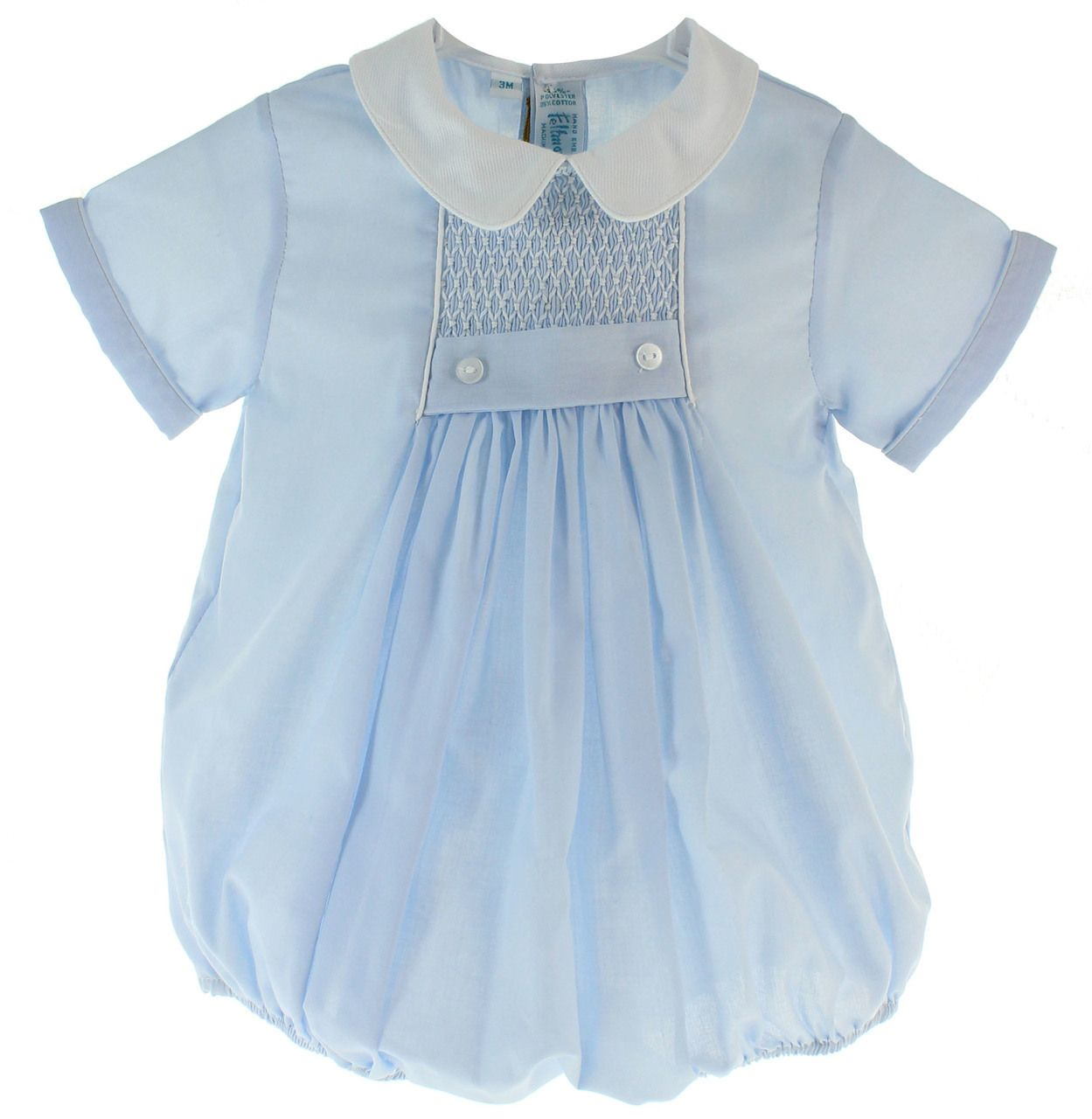 411e4da19 Hiccups Childrens Boutique - Infant Boys Blue Smocked Bubble Outfit |  Feltman Brothers, ...