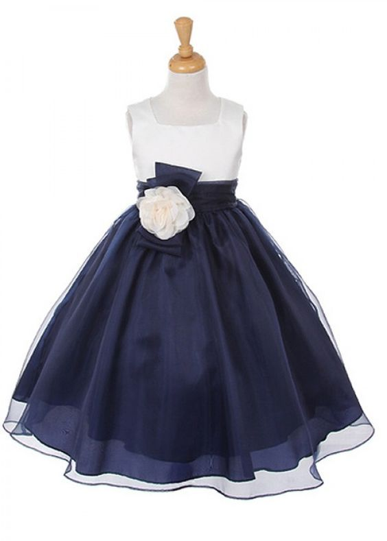 d36c6e065fb8 Ivory Bodice with Navy Organza Girl Dress with Flower