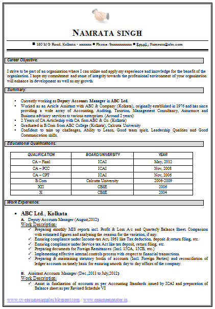 Professional Curriculum Vitae Resume Template For All Job Seekers Sample Template Of An Excellen Best Resume Format Accountant Resume Resume Format Download