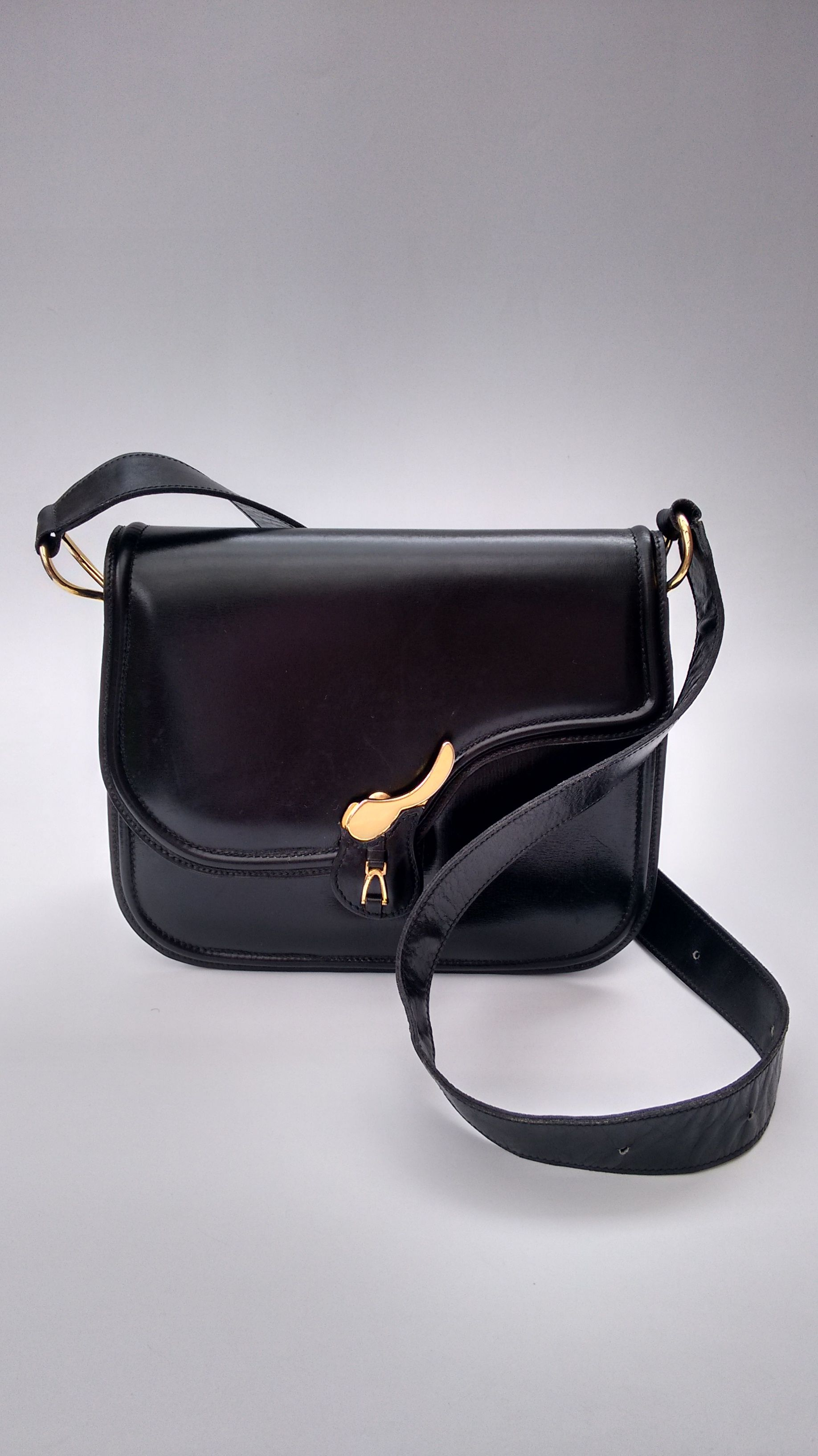 4f3202701f CÉLINE Bag. Celine Vintage Black Leather Saddle Style Shoulder Bag. French  designer purse.