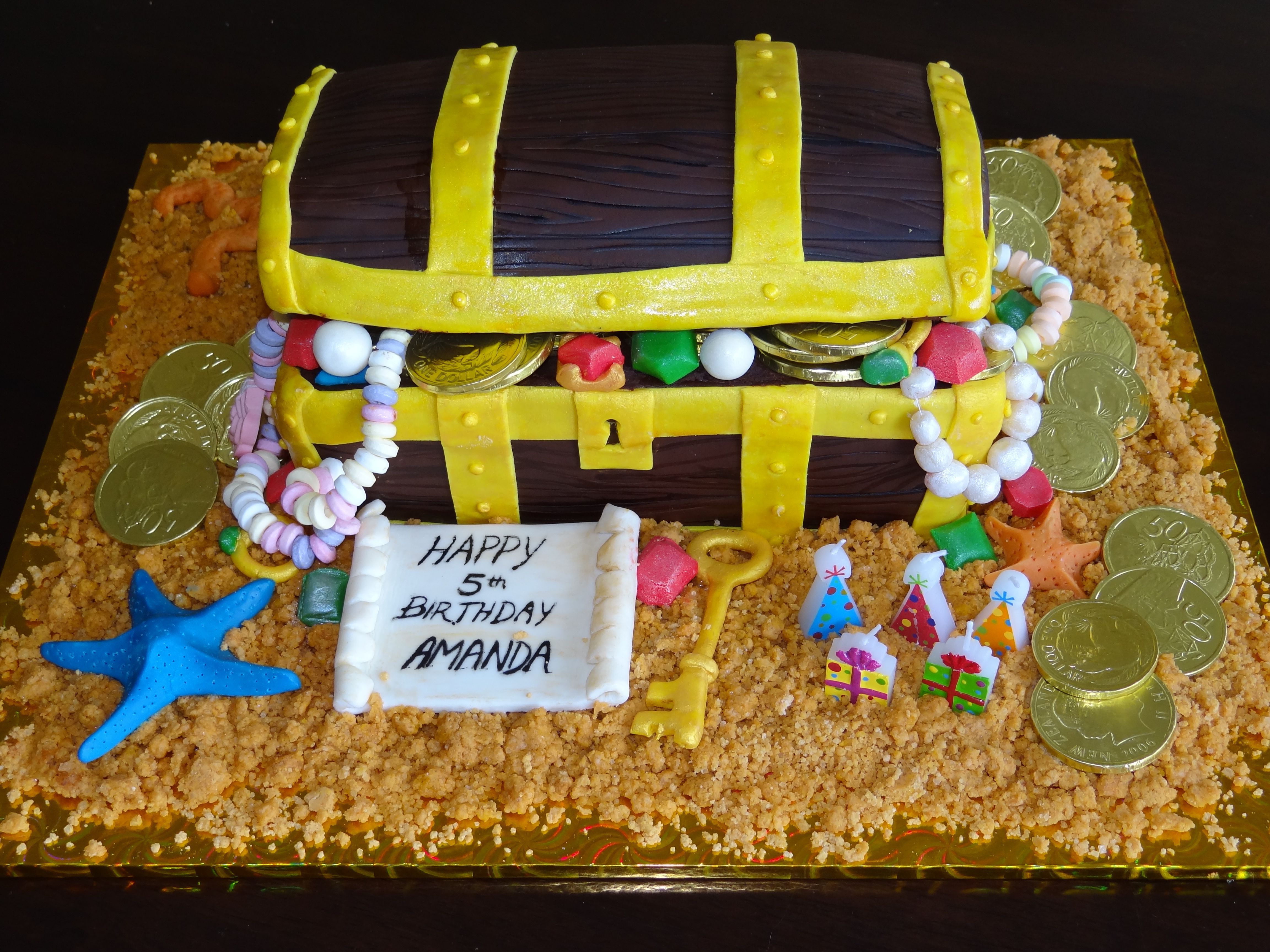 Treasure chest cake filled with jewels and chocolate money ...