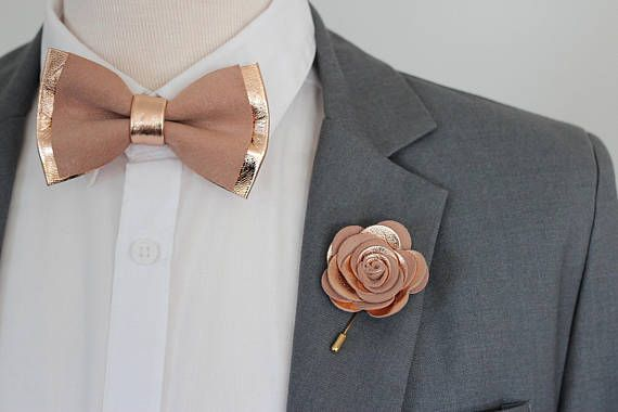 Rose Gold Nude Leather Bow Tie For Men Boys Rose Gold
