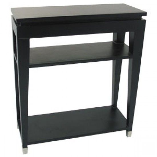 Black Glass Top Console Table with 2 Shelves