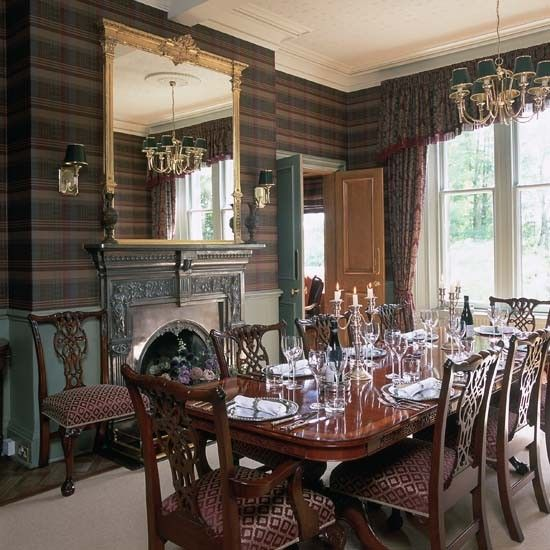 Dining room wallpaper ideas tartan wallpaper dining Victorian dining room colors