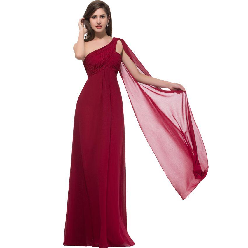 Grace Karin 2015 New Hot One Shoulder Ruffles Padded Chiffon Long Evening Dress Dark Red Vestido De Festa Curto Coctel 008909