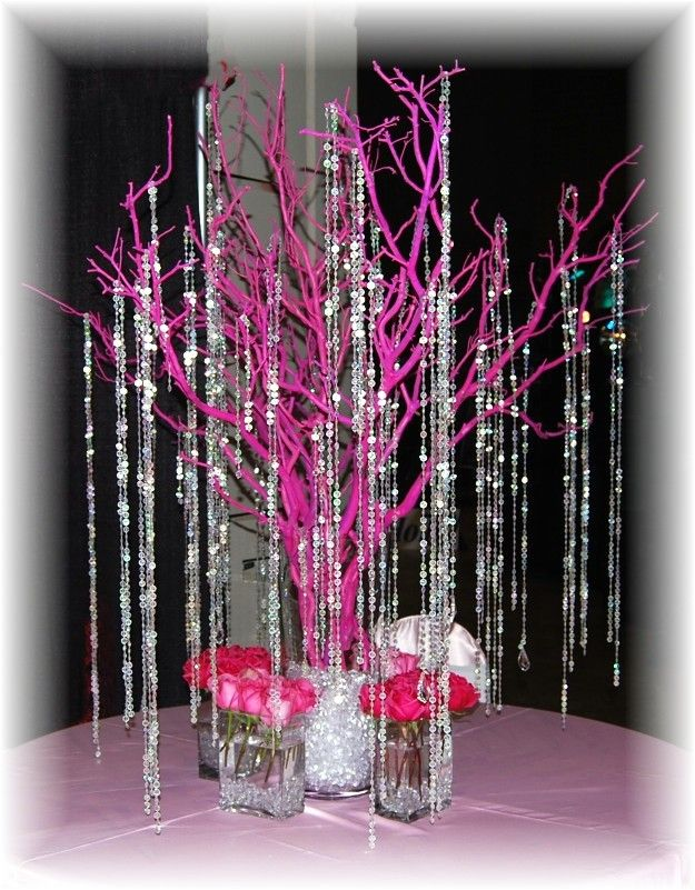 Pink centerpiece with rhinestones. hate the pink. love the idea & http://images.quickblogcast.com/33004-31162 ...