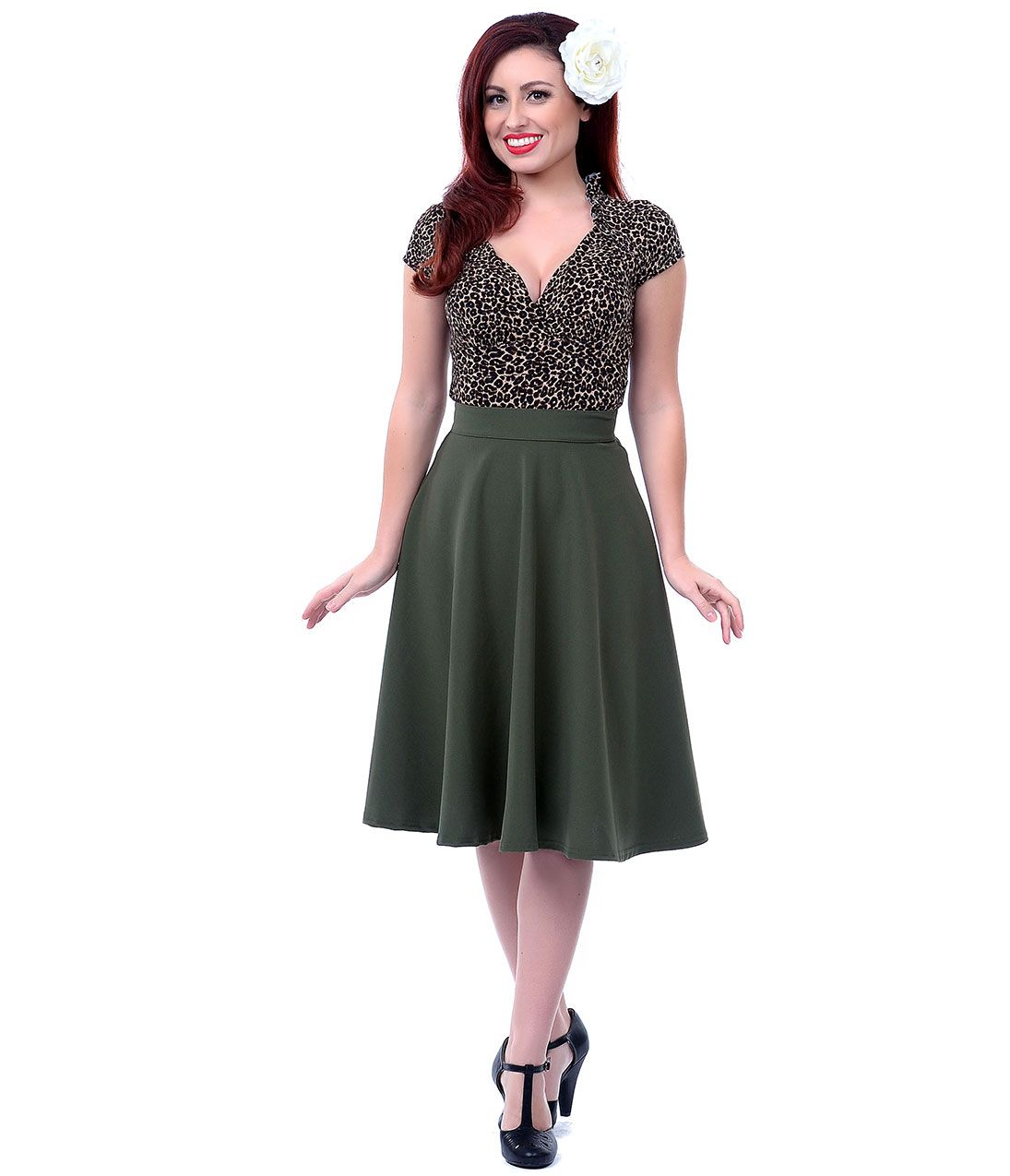 Olive high waist thrills swing skirt unique vintage prom dresses