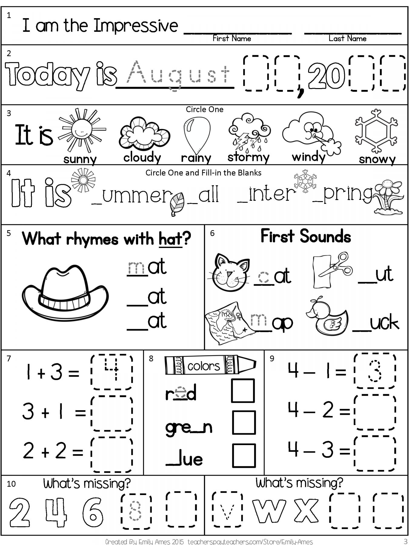 10 Morning Work Worksheet First Grade