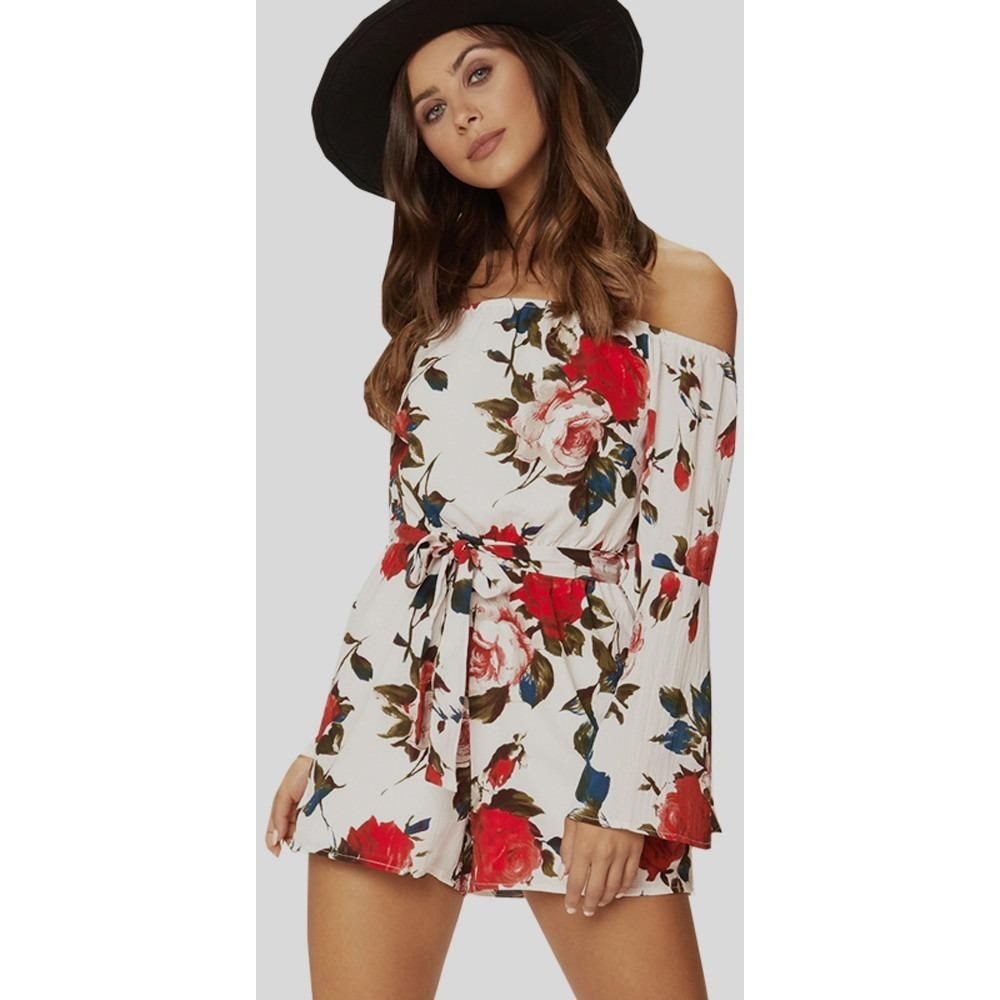 52a90d1f3b Cute Summer Women Floral Print Short Jumpsuit Long Sleeve Slash Neck White Playsuits  Romper Suite