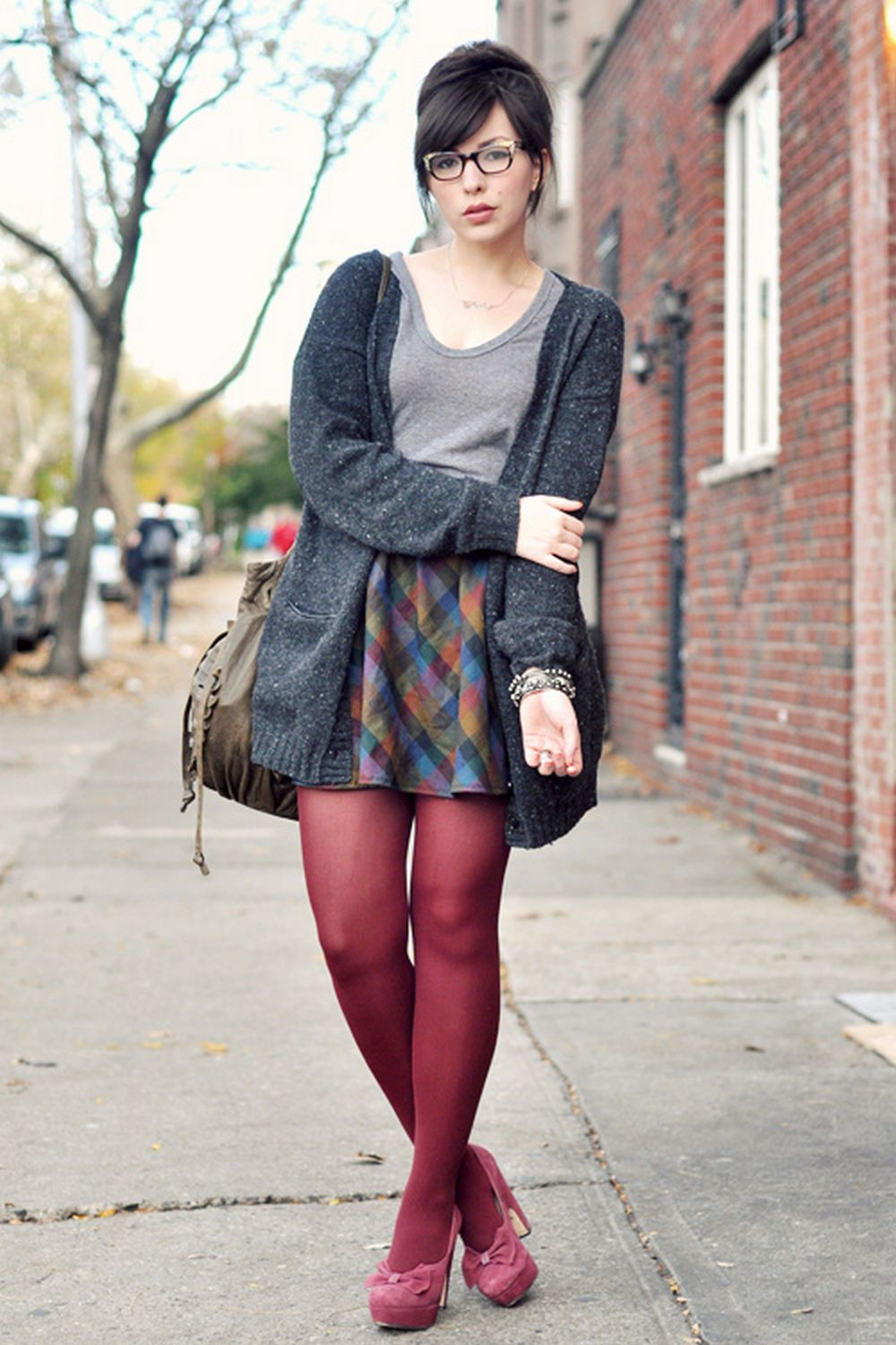 Fashion look from january 2016 featuring pink opaque tights round - Bordeau Pantyhose Pink Heels And Multicolored Square Print Skirt