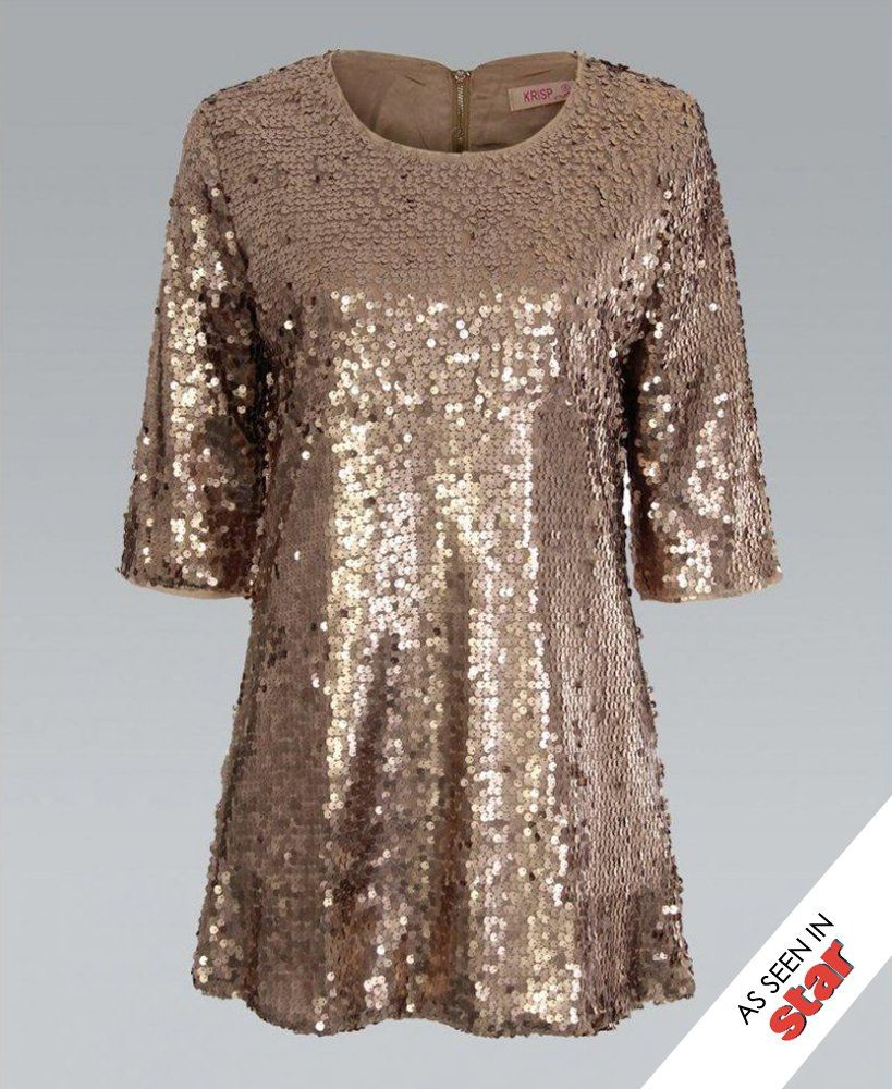 KrispWOMAN 3/4 Sleeve All Over Sequin Tunic Gold Dress ...