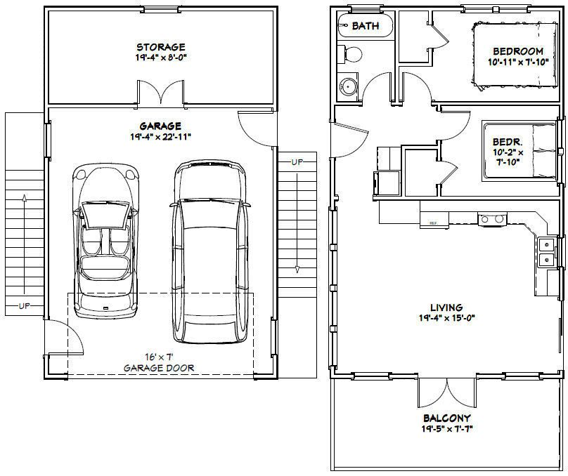 20x32 Tiny House PDF Floor Plan 808 sq ft Model