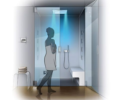 Contemporary Art Sites Fascinating lighting effects are an essential part of the GROHE F digital Deluxe shower system
