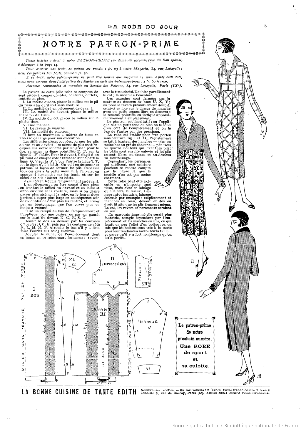 La Mode du jour. [1925/06/18   Années 30   Pinterest   Moda, Costura ...
