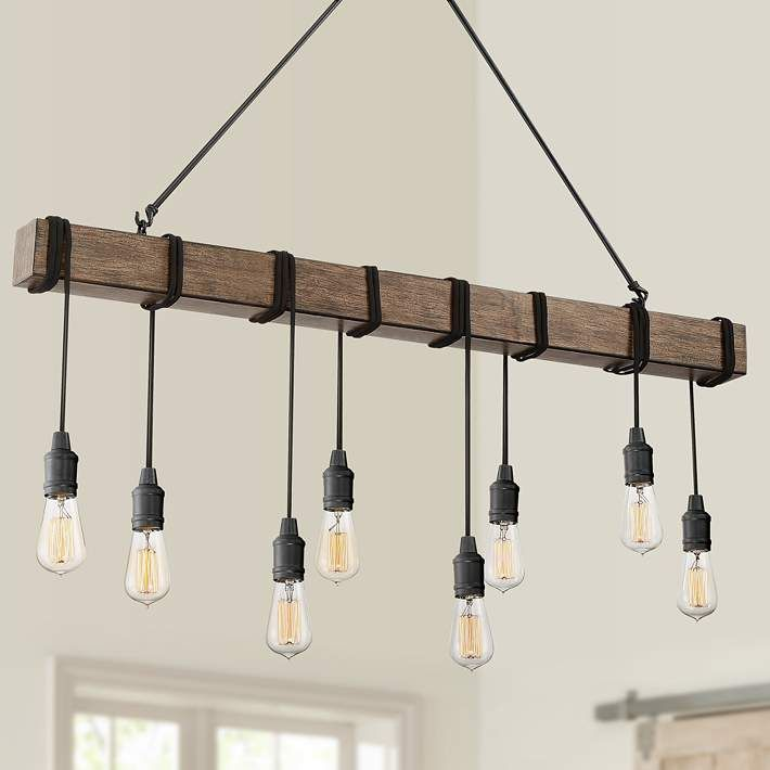 Tomas 42 1 4 W Black And Wood Grain 8 Light Island Pendant 39m40 Lamps Plus Kitchen Island Lighting Low Ceiling Lighting Rustic Pendant Lighting