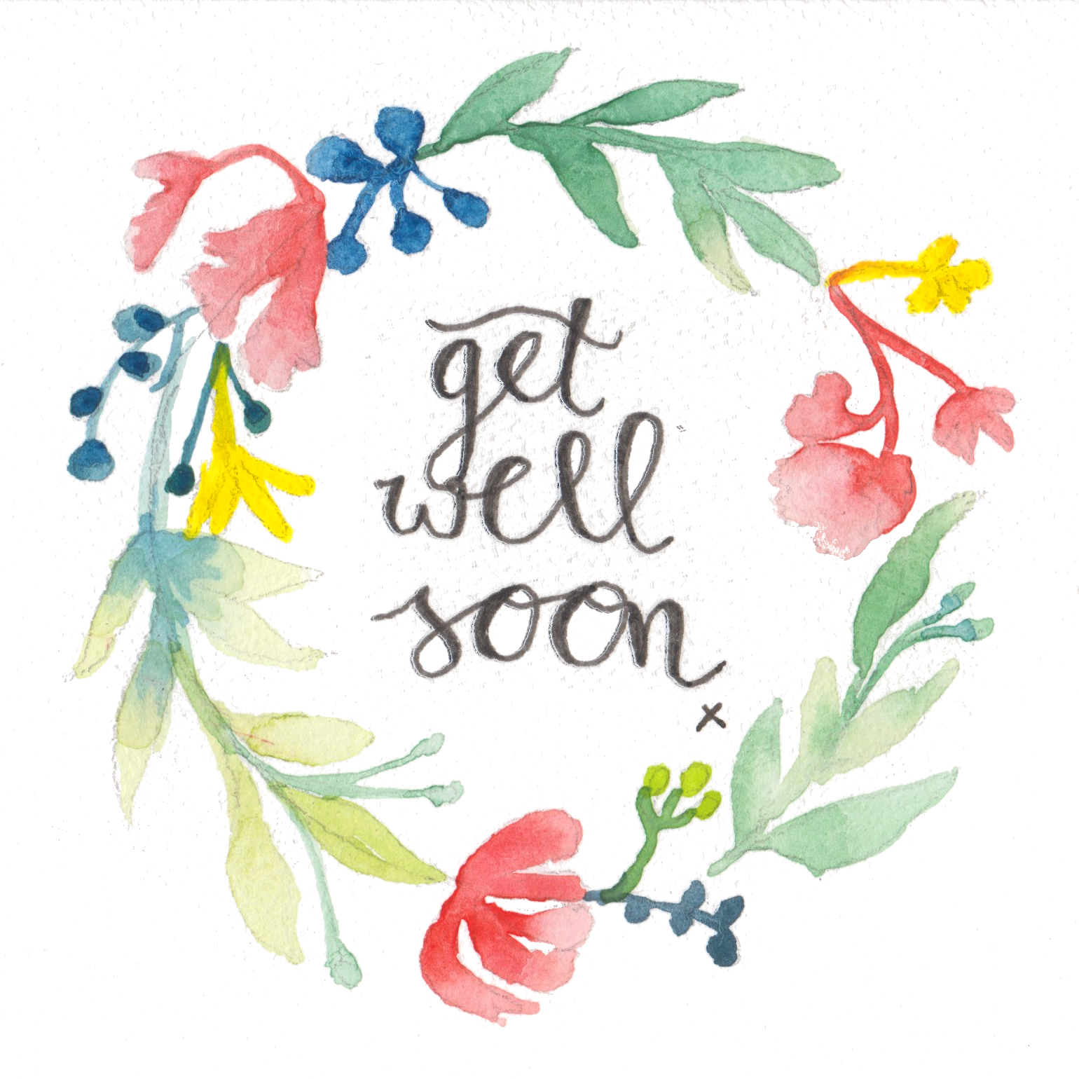 Get Well Soon Greeting Card Art Watercolour Floral Wreath Get Well Soon Watercolor Cards Get Well Cards