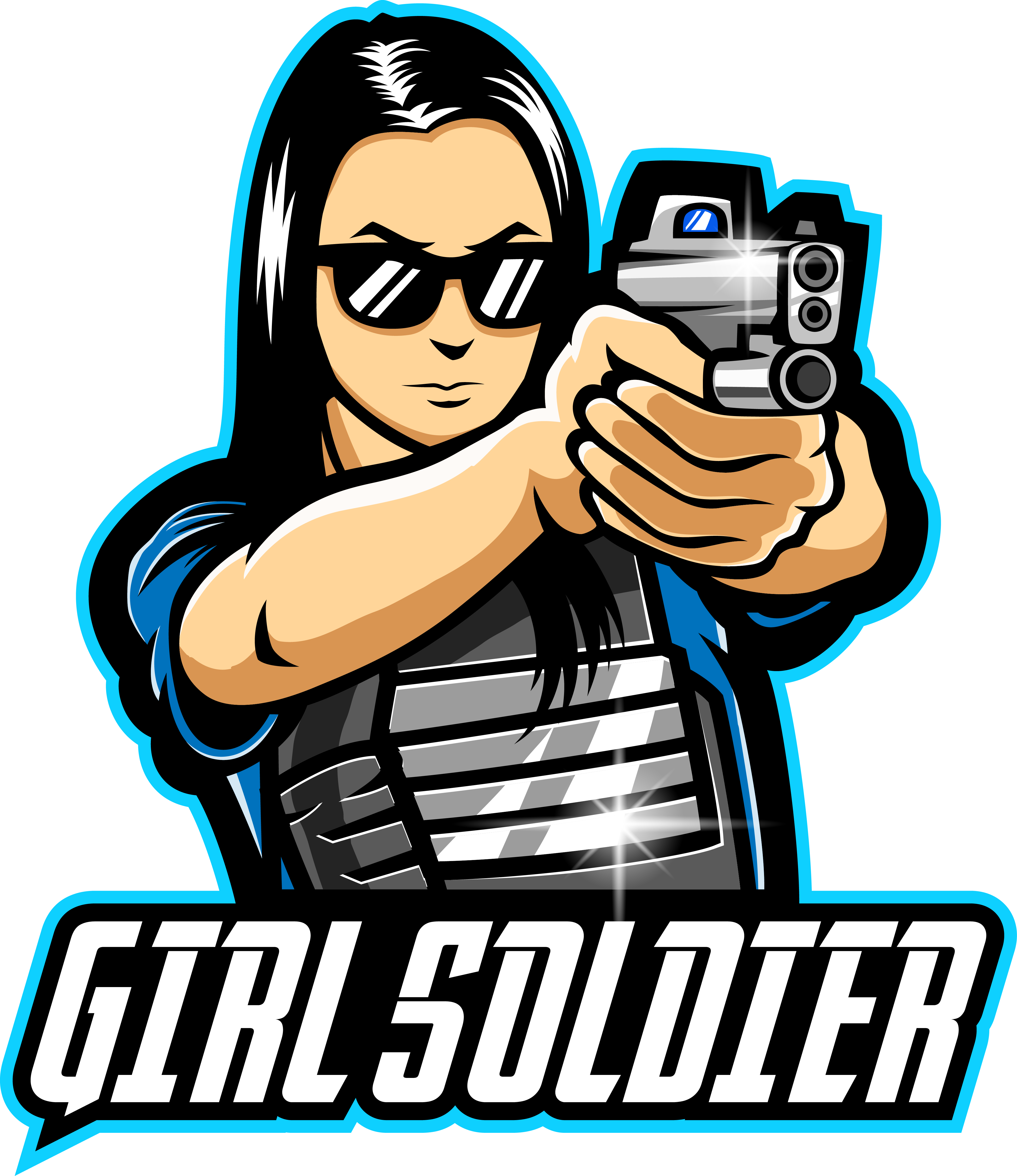 Girl soldier esport mascot logo By Visink TheHungryJPEG