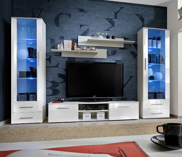 Telia 1 Modern wall units, Living room wall units and TVs