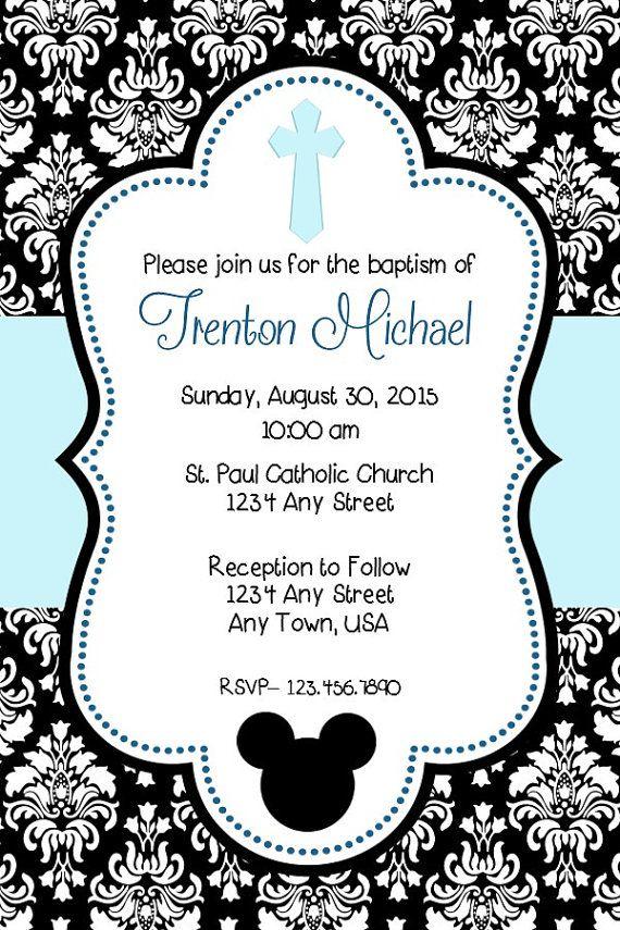 Mickey Mouse Baptism Invitation by MelissaStanleyDesign on Etsy