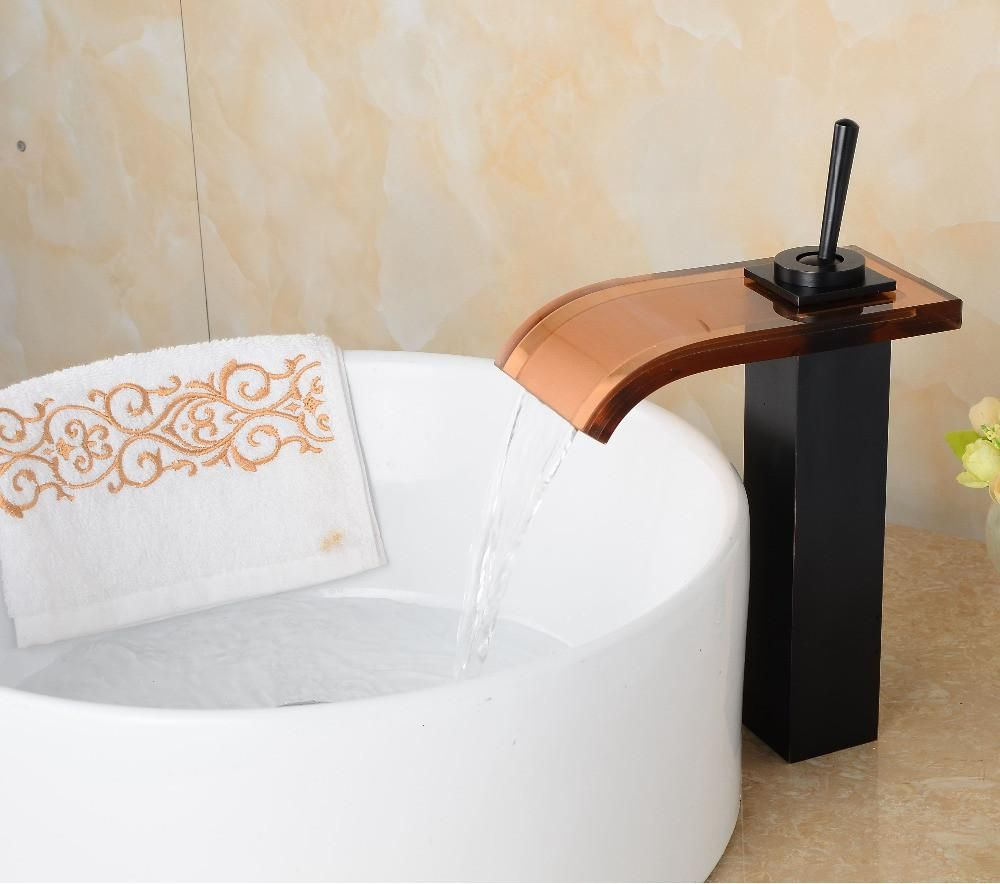 Deck Mounted Oil Rubbed Bronze Faucet Waterfall Bathroom Black Basin ...